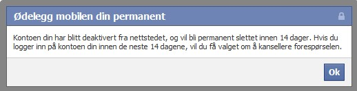slette facebook konto permanent Fredrikstad